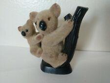 Vtg Flocked Koala & Baby On Tree Branch Mini Figurine Hong Kong Miniature