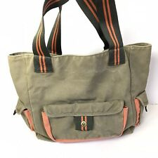 Pottery Barn Teen Tote Bag Canvas Travel School Pack Army Green Orange