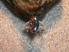 SPECIAL 3 Carat Black Opal Marquise Cut And Accents .925 Silver Ring Size US8