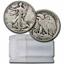 $10 Face Roll - 20 coins - 90% U.S. Silver Walking Liberty Half Dollars Avg Circ