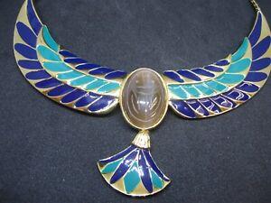Vintage Franklin Mint Jewel of the Nile Enamel Scarab Necklace