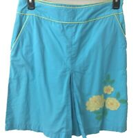 L.L. Bean skirt womens size 12 Reg aqua blue floral embroidery lined