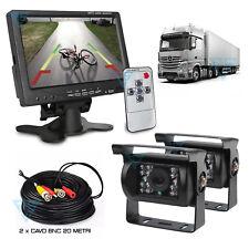"Kit Retromarcia cablato 20 mt con 2 Telecamere IR Led Monitor 7"" per Camion Tir"