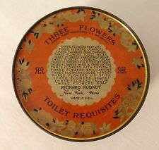 Richard Hudnut 3 Flowers Dusting Powder lithographed tin full product line list