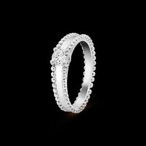 E Color VVS2 Van Cleef & Arpels Estelle Perlee Platinum Natural Diamond Ring