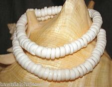 7.5mm-9mm Small Natural White Virgin Cone Hawaiian Puka Shell Necklace 20""