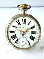 Extra Large Antique Silver Pocket Watch Remontoir Green Dial