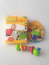 Infantino Toy Lot Farm Roller Vibrating Grapes Teether Caterpillar Twist Rattle