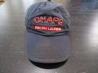 VINTAGE Ralph Lauren Chaps Strap Back Hat Cap Blue Red Spell Out Adjustable 90s