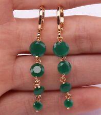18K Yellow Gold Filled - 1.8'' Round Emerald Jade Topaz Zircon Hoop Gem Earrings