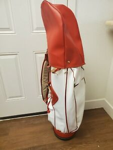 Vintage☆ Professional Faux Leather Golf Bag☆ 15 Way☆ w/Rain Cover☆ Red/White☆