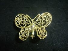 Filagree Butterfly Brooch Pin Vintage Gerry's Goldtone Metal