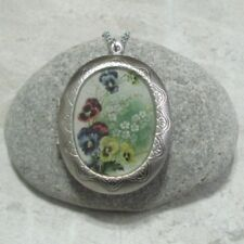 Pansy Locket Pendant Necklace Jewelry Stainless Steel