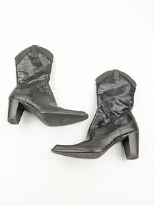 Stuart Wietzman Brown Croc Print Western Cowgirl Booties Boots Sz 6 M
