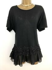 PAPAYA Top Uk 16 black Stretch Frilly Mesh Hem Short Sleeve Lace Floral