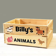 Personalised Kids Toy Farm Animals Wooden Storage Toy Box Crate for Children