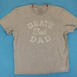 Men's LIFE IS GOOD T Shirt Size Large L Grateful Dad Gray Vintage Logo Tee