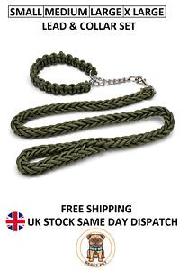 Nylon Braided Traction Rope Dog Lead & Collar Martingale Chain Collar Leash Set