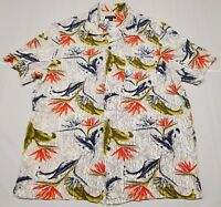 Birds of Paradise White Orange Blue Green Aloha Hawaiian Shirt Large Tropical