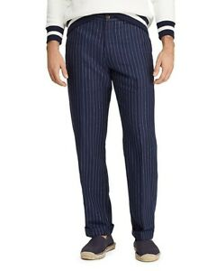 NEW POLO RALPH LAUREN BLUE LINEN BLEND STRIPED CLASSIC FIT DRESS PANTS sz 32X32