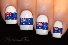 Nail Art Australian Flag Wraps Water Transfers 14pcs Decals ST8008