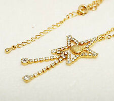 Hello Kitty Swarovski elements crystal gold necklace Japan limited import Sanrio