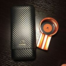 Cohiba Carbon Fiber Ceder Wood Cigar Case & Rose Gold Titanium Cigar Ashtray