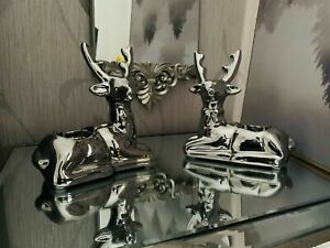 Set of 2 Silver Reindeer Tealight holder Christmas Decor Stag Candle Home