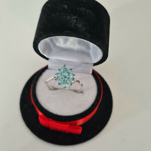 Madagascar Blue Apatite Cluster ring in Sterling Silver