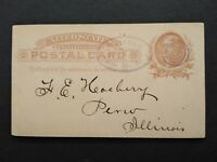 Illinois: Golconda 1885 Postal Card, Violet Sawtooth Oval Pope County Cancel