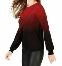 New $60 NY Collection Ombre Metallic Sweater Red Black Top Petite Medium PM