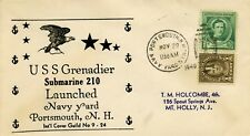 U.S.COVER U.S.S. GRENADIER SUBMARINE 210 NAVY LAUNCHED NAVY YARD PORTSMOUTH 1940