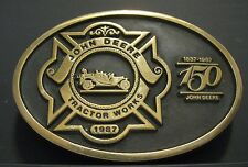 John Deere FIRE BRIGADE Belt Buckle Waterloo Tractor Works 1987 Employee 1 of 54