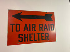 """To Air Raid Shelter Metal Sign Vintage Antique 20""""x13.5""""  Double side Rare"""