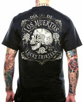 LUCKY 13 DEAD SKULL BIKER TATTOO PUNK GOTHIC MUERTA ROCKABILLY T SHIRT S-4XL