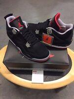 nike air jordan 4 bred black/cement grey/red  2012 brand new  uk 9.5  usa 10.5