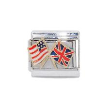 USA & UK flag Italian charm - fits 9mm classic Italian Charm bracelets