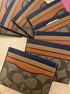 COACH Leather Colorblock Slim Signature Coated Canvas Card Case Wallet / NWT