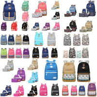 3Pcs/Set Women Bag Backpack Girl School Shoulder Bag Rucksack Canvas Travel Bags