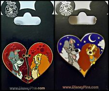 Disney Parks 2 Pin Lot LADY and the TRAMP hearts chained red + blue