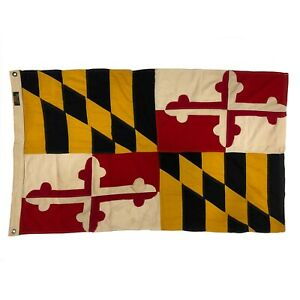 Vintage Cotton Sewn Maryland US State Flag Cloth Banner Old American USA