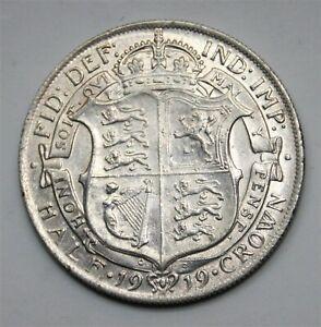 British 1919 Silver BRILL UNCIRCULATED UK Half Crown 2/6 English George V Coin
