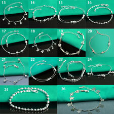 925 Silver Bracelet Women's Cross Hearts Chain Adjustable Gift Bangle Anklet