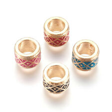 10pc Column Alloy Enamel Metal Beads Light Gold Large Hole Loose Spacer 11x7.5mm