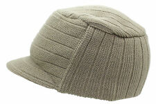 Unisex Khaki Urban Knitted Curved Peak Beanie Winter Peaked Ski Hat One Size