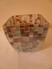 Vintage Mosaic Multi Color Glass Candle Holder Retro Lantern Lamp Light W Candle