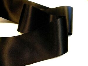 "2""  WIDE SWISS DOUBLE FACE SATIN RIBBON- BLACK  - BY THE YARD"