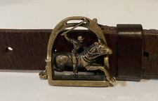 Vtg Rare Ralph Lauren Rl-90 Polo Player Brass Buckle Brown Leather Belt 30 - 36