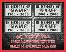 in Memory of Custom Embroidered MC Patches 4 PK Veteran Biker Rocker Cut Vest