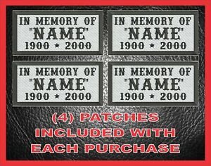 CUSTOM EMBROIDERED COMMEMORATIVE IN MEMORY OF MC PATCHES BIKER JACKET VEST RIP